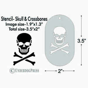 Stencil - Skull and Crossbones, 1.9x1.3 Image on 3.5x2 Border Template