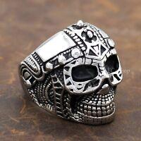 Men's Vintage Gothic Knight Warrior Skull Helmet 316L Stainless Steel Biker Ring