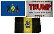 3x5 Trump White #2 & State of Pennsylvania & City of Pittsburgh Set Flag 3'x5'