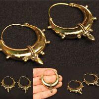 Large Brass Tribal Gypsy Ethnic Earrings Boho Gold Plated Hoops Indian Mandala M