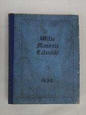 Wilts Masonic Calendar 1936 with frontispiece portrait  - Hardback Book