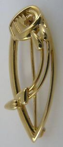 Ola Gorie 9ct Yellow Gold Charles Rennie Mackintosh Rose Brooch Boxed