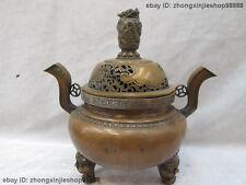 Tibet Tibetan Buddhism Fane Bronze carved Dragon incense burner Censer
