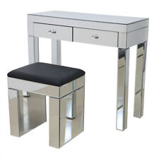 Crystal Mirrored Furniture Glass Dressing Table With Drawers Console Bedroom Only Small Seat