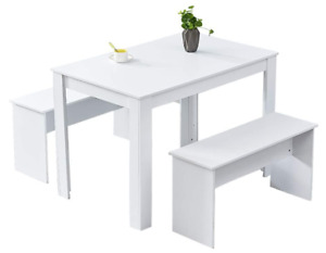 Small Kitchen Wooden Dining Table & 2 Benches White Space Saver Contemporary