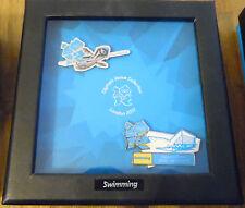 Juegos Olímpicos de Londres 2012 2 Pin Insignia Venue Set Caja de ventana de natación