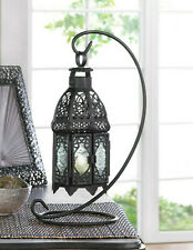 "black Moroccan lace 13"" Candle holder Lantern light outdoor terrace With stand"
