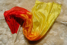 New Belly Dance Fire Bamboo Long Silk Fans Veils Hand Made Silk Fan 1.5m