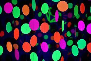 Neon Circle Garland Decoration Black Light Reactive UV Glow Hanging Banner 76Ft