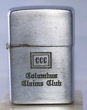 "Vintage 1956 Zippo Lighter Advertising ""Columbus Claims Club""  L3"