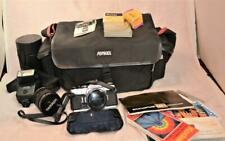 Olympus OM-1 35mm SLR film camera w F.Zuiko Auto-S & Tamron lens, papers,bag