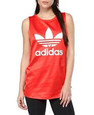 adidas Originals Women Red Satin Trefoil Sleeveless Tank Vest Top S M L BK2090