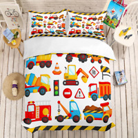 3D printing bedding cartoon construction vehicle children quilt cover set  2021