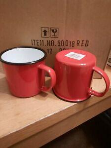 6 X Red Enamel 8cm Mug 50018RD