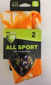 SOFSOLE All Sport Team Socks Shoe Size Small 10 -4.5 Girls Orange/White 2 Pair