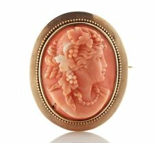Big! Art Nouveau 14k Gold Coral Cameo Brooch 051617150