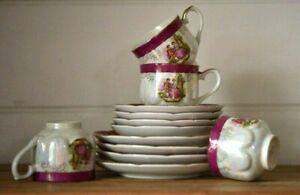 """vintage tea set trio's x 4 Lusterware Victorian Japan """"Zen"""" iridescent cup"""