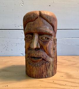 Mid Century Face Wood Log Carved Sculpture Folk Art