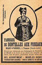"""43 TENCE """" DENTELLES AU FUSEAUX MARY PARREL """" TOUTE PETITE PUBLICITE 1927"""