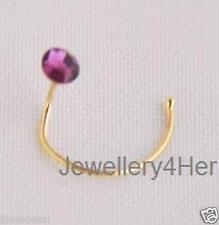 9 Ct Or 3 mm Plat Rond Violet Cristal Bend Wire Nose Stud Pin Summer cadeau B nouveau