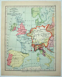 Vintage Longmans Map of Western Europe in the Year 1525