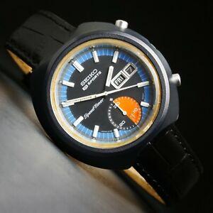 Seiko 5 Sports 6139-8010 Speed Timer Black/Blue Chronograph Watch Kanji Date, NR