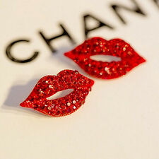 2X Big Classic Luxurious Elegant Sexy Red Lip Rhinestone Sutd Earrings N Ze
