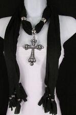 Women Religious Fashionable Soft Fabric Black Scarf Necklace Big Cross Pendant