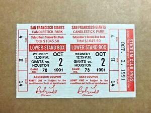 Kenny Lofton Stolen Base #2 1991 10/2/91 Giants Astros Full Ticket 5,823 Fans