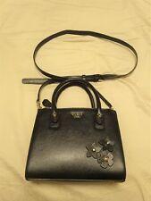 GUESS 1981 Satchel Tote Handbag Purse Black Faux Leather