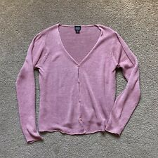 Eileen Fisher Cardigan Size S Linen Pink Knit Buttons Long Sleeve