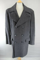 DARK GREY H&M DOUBLE-BREASTED WOOL & RAYON HERRINGBONE PATTERNED COAT 44 INCH
