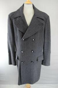 DARK GREY H&M DOUBLE-BREASTED WOOL & RAYON HERRINGBONE PATTERNED COAT 44 INCH