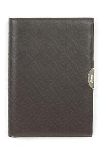Brioni Dark Brown Monogram Embossed Pattern Leather Passport Holder Wallet
