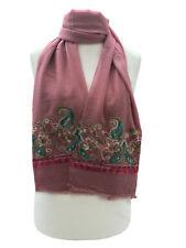 Bordado de Moda de Mujer Bufanda Envolvente Hijab Cachemira Flor Rosa Suave Bufandas suaves