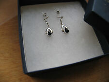 EVE'S ADDICTION DECO STYLE STERLING SILVER & ONYX PEARDROP EARRINGS NEW IN BOX