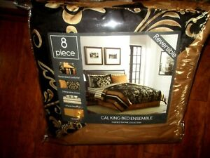 Fairfield Square Collect, Cal King 8 piece Reversible Comforter Bed Ensemble NEW