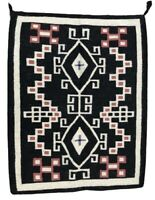 "Vintage Antique Native American, Navajo Two Grey Hills Rug, Handwoven, 43"" x 35"""