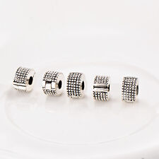 5Pcs Stopper Vintage Silver Plated Beads Charms Womens For European Bracelets