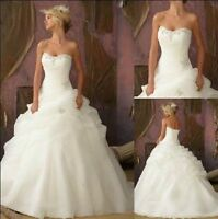 NEW Organza White/Ivory Wedding Dress Bride Ball Gown Stock Size 6 8 10 12 14 16