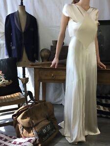 Vtg 1930's Silk Dress 1940s Satin Dress Ivory Vtg Silk Gown Robe Ancienne Ivoire