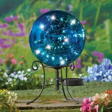 Solar Powered Faux Mercury Blue Garden Gazing Ball with Metal Scroll Stand