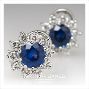Women 4 Ct Round Blue Sapphire Diamond Stud Clip On Earrings White Gold Finish