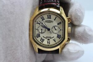 STAUER AUTOMATIC GOLD PLATED MENS WATCH