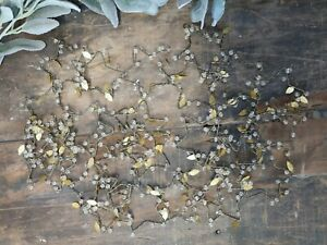 Brass Star Garland, Rustic Leaf Beads Leaves Metal Christmas Mantlepiece Decor