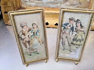 BEAUTIFUL PAIR OF ANTIQUE PAINTINGS ON SILK ON BEADED BRASS FRAMES 19.5 X 9.5CMS