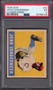 1948 John VanderMeer Leaf Baseball Card #53 Graded PSA 5 Excellent (EX)