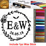 Custom Engraved Your Name/Initials/Date Invitation Wax Seal Stamp+1 Wax Stick