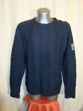 Men's BENCH navy wool blend crew chunky knitted jumper size M great co COOL