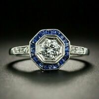 Art Deco 1.50 Ct Round Diamond Sapphire Halo Vintage Ring 14K White Gold Finish